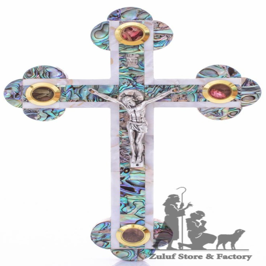 Small Handmad Cross Inlaid With Mother Of Pearl Jerusalem Zuluf® - 13X9.5CM/5.1X3.7in (MOP032) - Zuluf