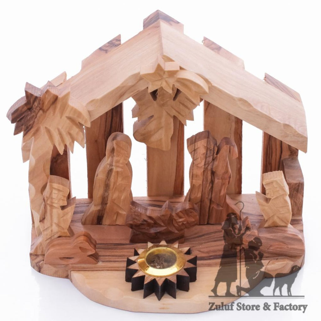 Small Handmade Olive Wood Nativity Stable Christmas Gift By Zuluf® - 9X12X8CM/3.5X4.7X3.1in (NAT048) - Zuluf