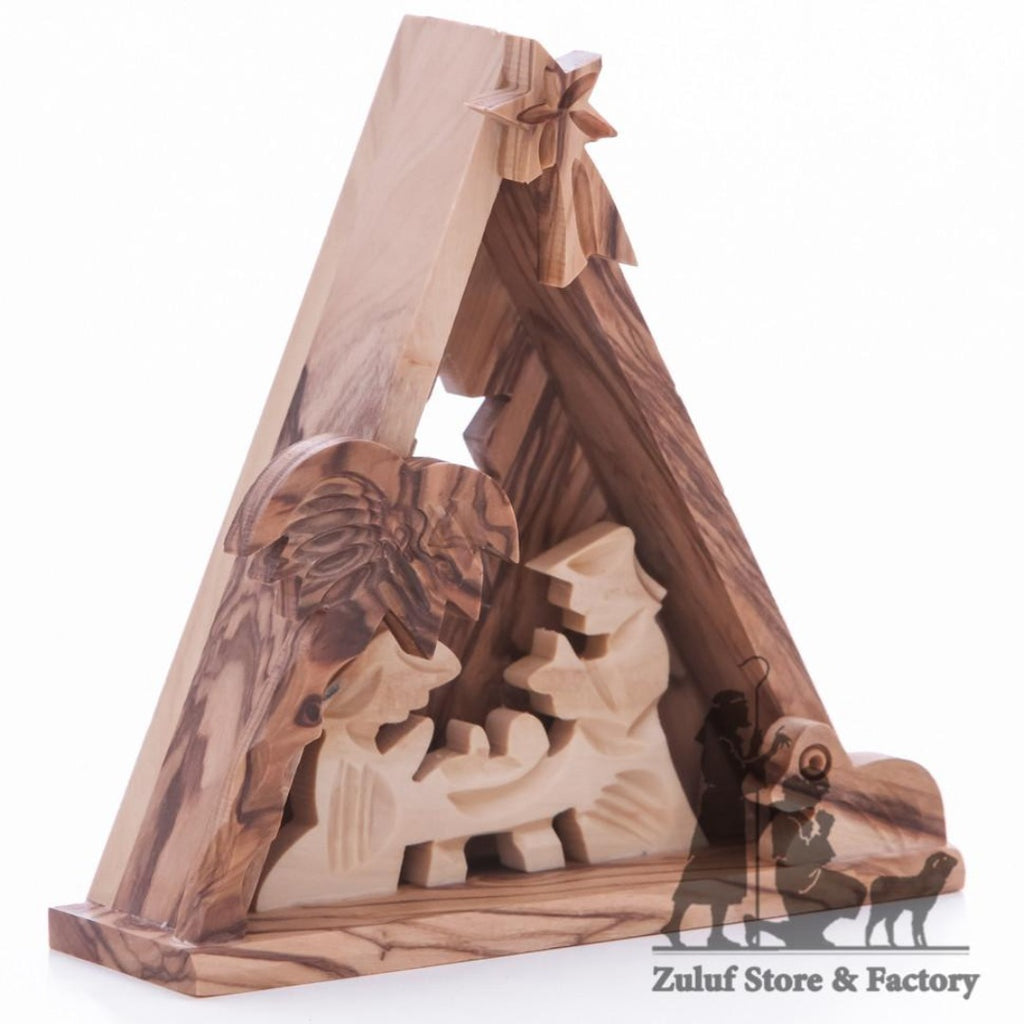 Small Nativity Hand Carved Grade A Olive Wood Christian Gift by Zuluf - NAT016 - Zuluf
