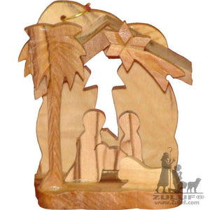 Small Nativity Scene Hand Made Christmas Olive Wood Ornament Zuluf - (ORN005) - Zuluf