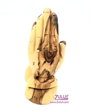 Small Olive Wood Praying Hands Statue By Zuluf - (FIG037) - Zuluf
