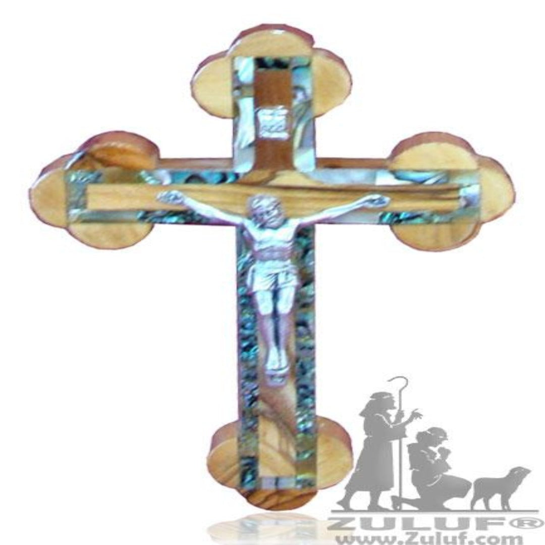 Small Orthodox Wall Mother Of Pearl Cross Olive Wood Bethlehem - 13X9.5/5.1X3.7in (MOP018) - Zuluf