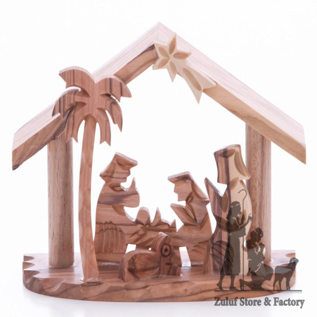 Stable Small Manger Nativity Tabletop Christian Holiday Gift by Zuluf - NAT040 - Zuluf
