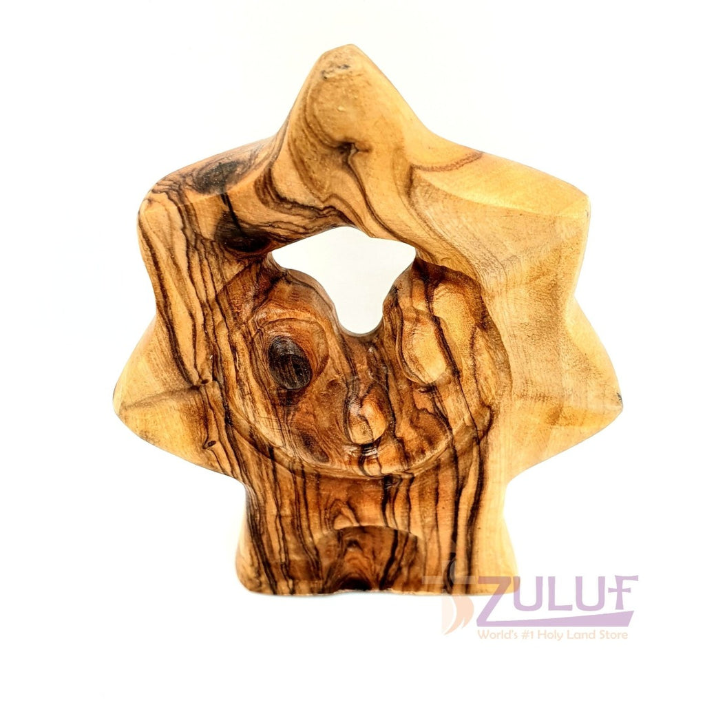 Star Shaped Olive Wood Figure Holy Family Carved Into Zuluf - HOF025 - Zuluf