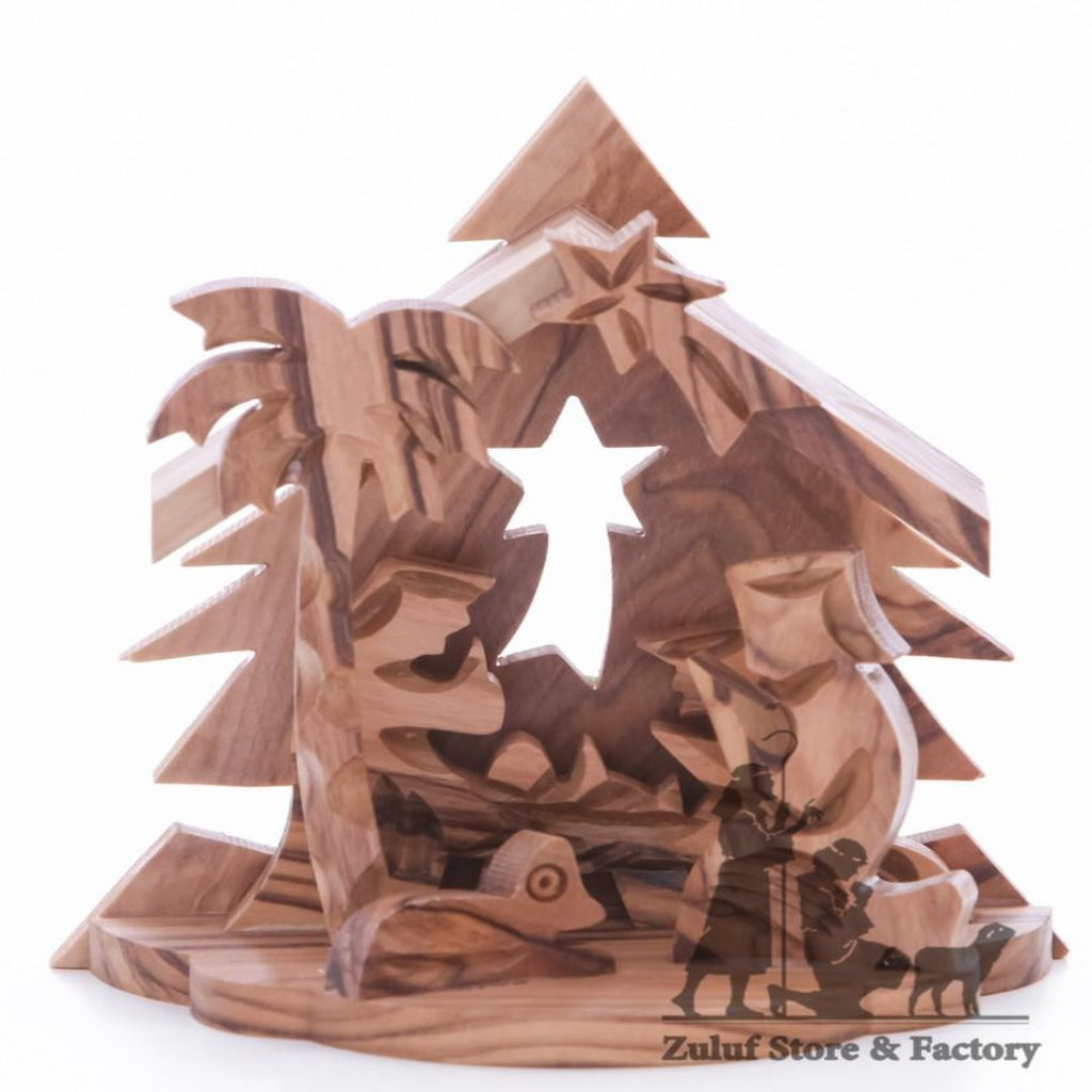Tree Star Nativity Olive Wood Hand Carved Jerusalem Art by Zuluf - NAT037 - Zuluf