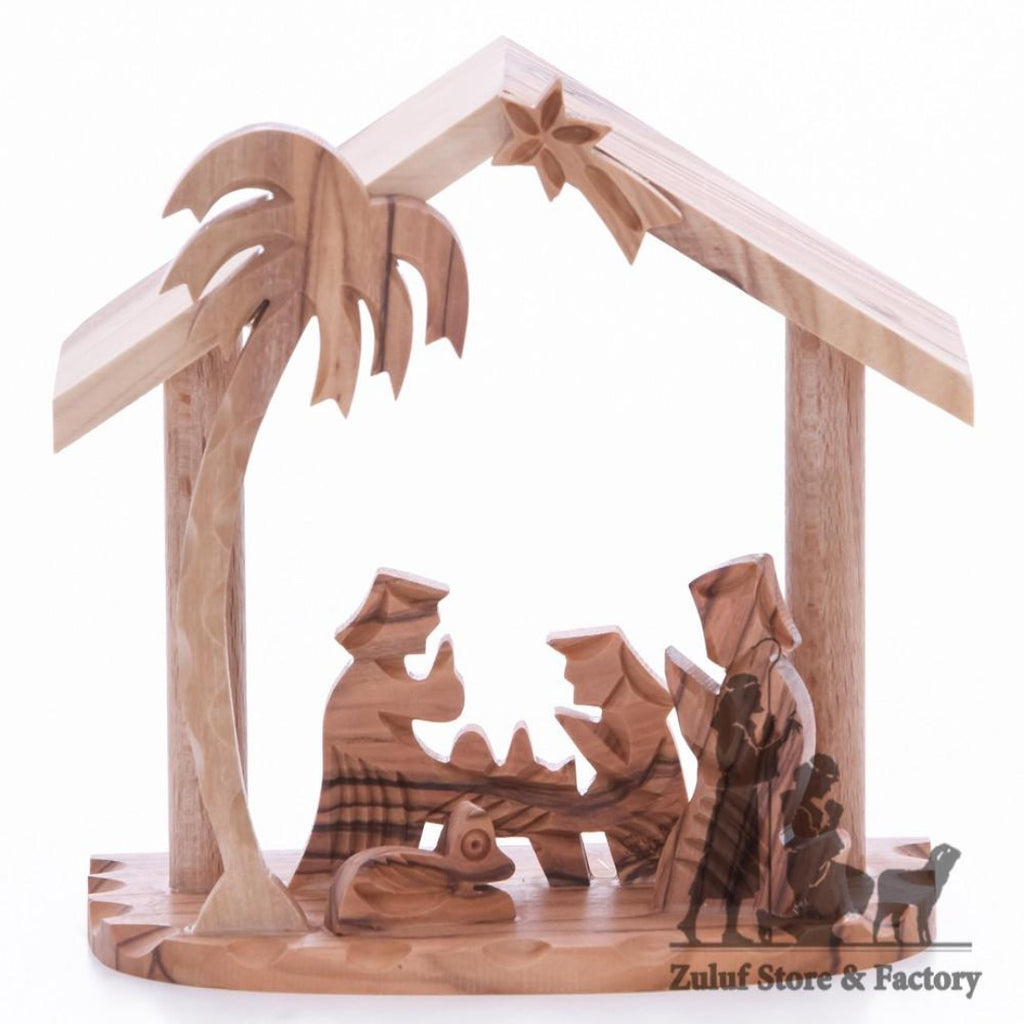 Tree Star Nativity Olive Wood Hand Carved Jerusalem Art Zuluf - NAT039 - Zuluf