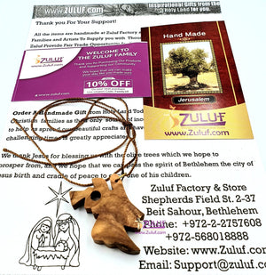 Trumpeting Angel Pendant Necklace Olive Wood Christian Gift Holy Land Israel (OW-PEN-040) - Zuluf