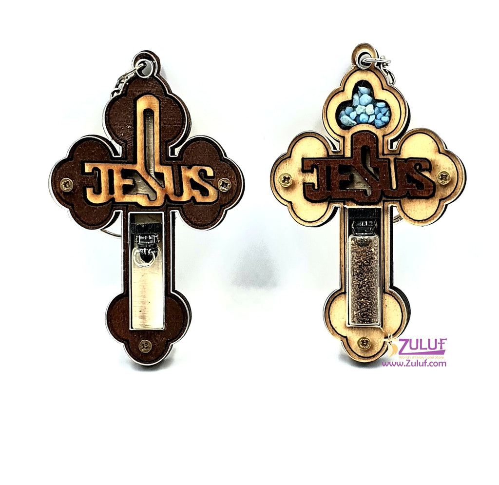 Two Bethlehem crosses keychain with holy land Gifts KC226 - Zuluf