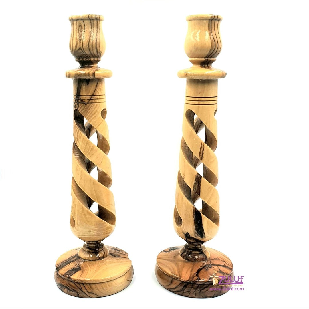 Two Pieces Olive Wood Home Decor Candle Holder Wedding Ceremony Gift Bethlehem By Zuluf - (CAH005) - Zuluf