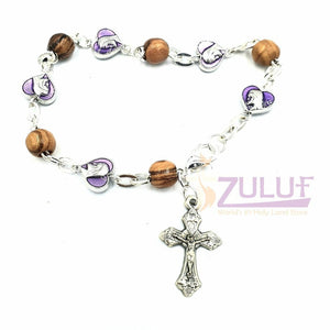 Violet metallic and olive wood bracelet with cross BRA049 - Zuluf