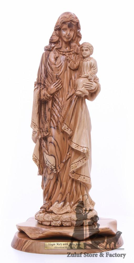 Virgin Mary with Baby Jesus Olive Wood Statue Hand Carved Zuluf® - ART026 - Zuluf