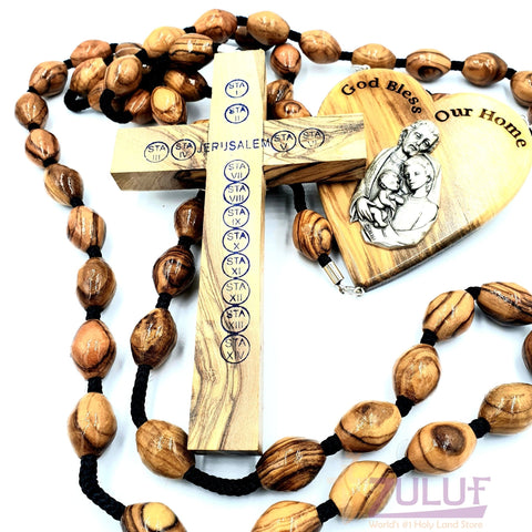 Wall Hanging Bethlehem Olive Wood Large Rosary with Silver Crucifix - ROS023 - Zuluf