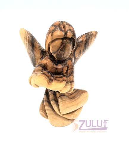 Image of Wooden Angel Handmade Reading Bible Jerusalem Angel ANG019 - Zuluf