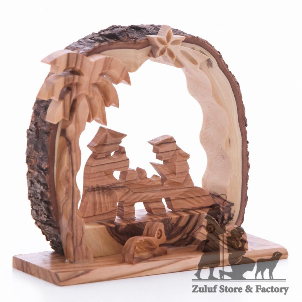Zuluf Hand Carved Nativity Set Scene With Bark Roof Made In Bethlehem - NAT023 - Zuluf
