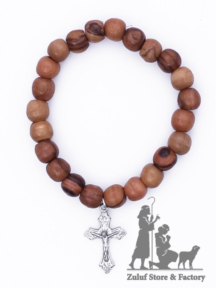 Zuluf Holy Land Olive Wood Stretch Bracelet with Silver Cross Crucifix Handicraft Gift - BRA029 - Zuluf