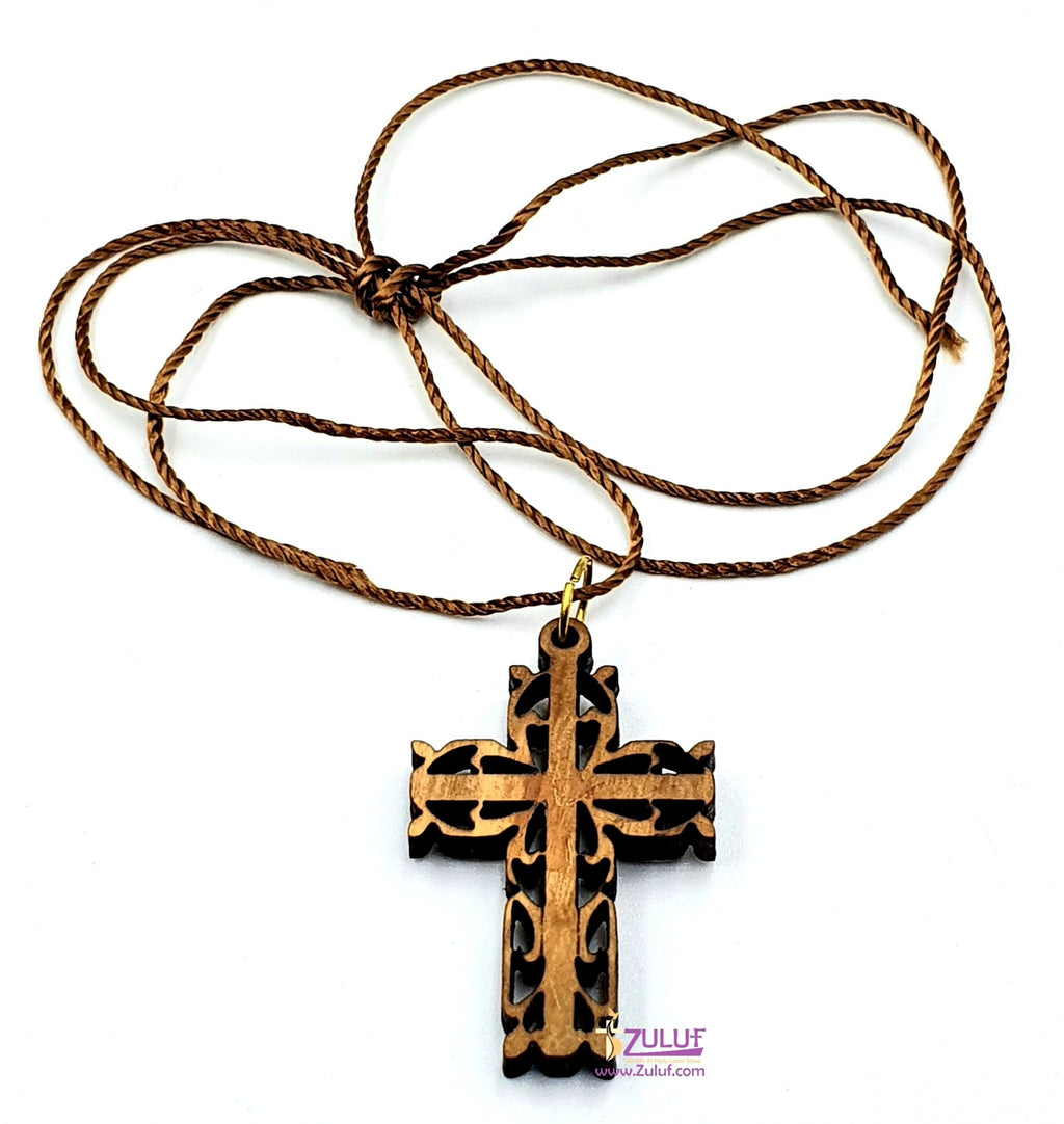 Zuluf Laser Art Olive Wood Cross Pendant Charm PEN051 - Zuluf