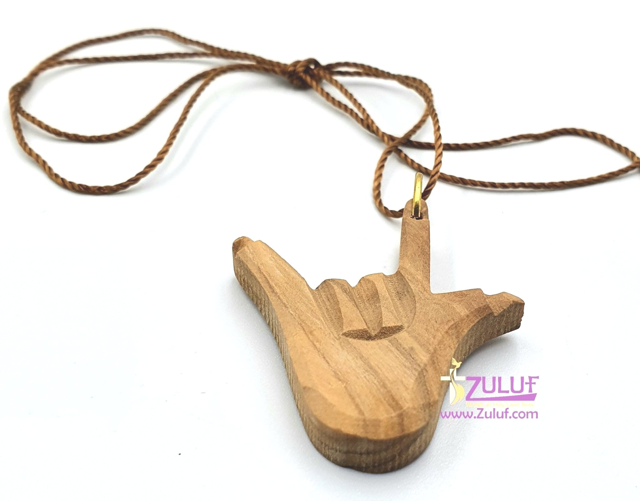 Zuluf Love hand Pendant Carved Olive Wood - PEN111 - Zuluf