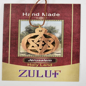 Zuluf Messianic Jewish Christian Star And Cross Olive Wood - PEN112 - Zuluf