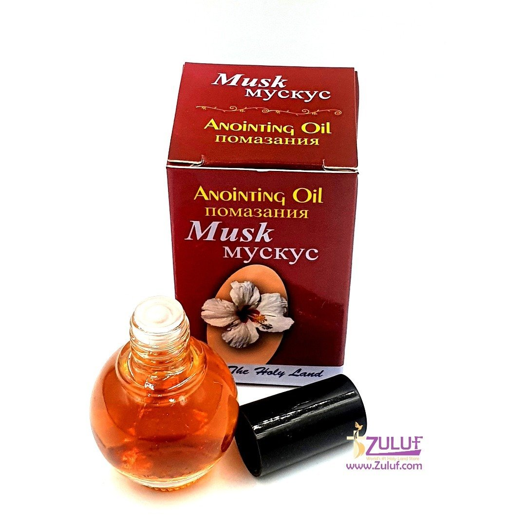 Zuluf Musk Jerusalem Anointing Oil Glass Bottle From Holy Land - Religious Gift - NPER021 - Zuluf