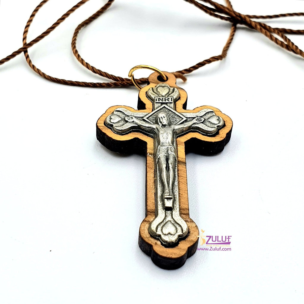 Zuluf Olive Wood Cross with Crucifix Metal - PEN109 - Zuluf