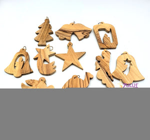 Zuluf olive wood hand made christmas tree GIFT ORN201 - Zuluf