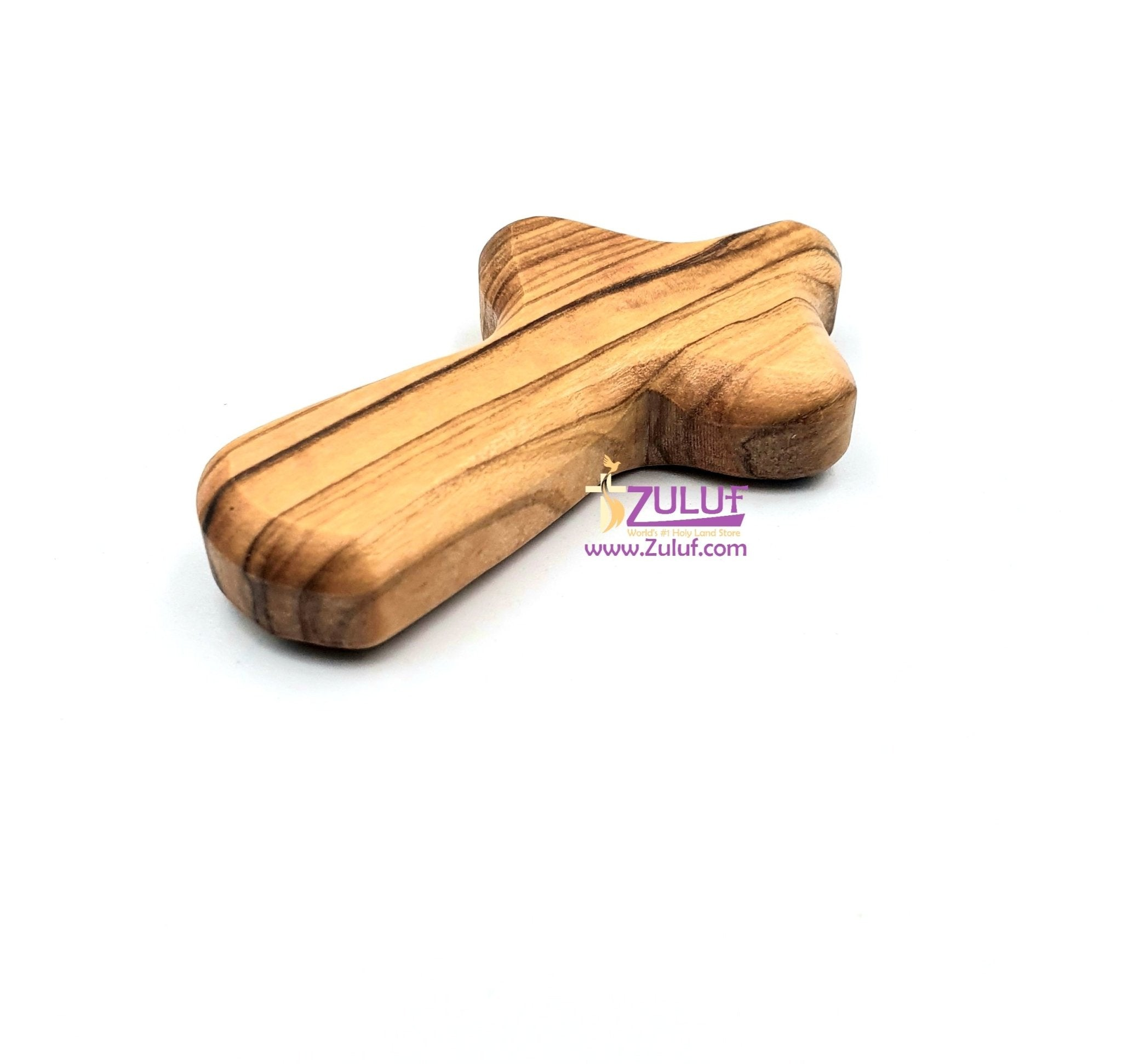 Zuluf Olive Wood Holding Small hand held Cross Bethlehem Holy Land - CRS001 - Zuluf