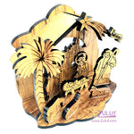 Zuluf Olivewood Olive Wood Musical Laser Nativity Scene Set Jerusalem - NAT005 - Zuluf