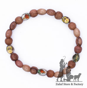 Zuluf Saints Olive Wood Bracelet Hand Made Stretch Christian Religious Gift - BRA028 - Zuluf
