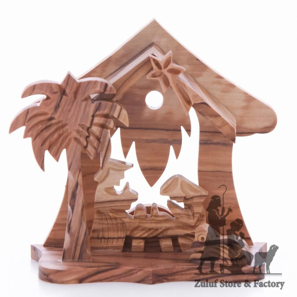 Zuluf Small Hand Carved Olive Wood Nativity Set With Bell Religious Gift - NAT032 - Zuluf