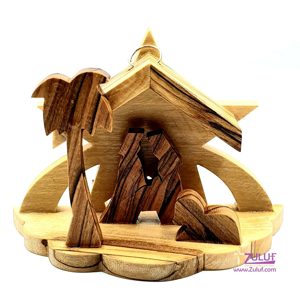 Zuluf Tree Star Nativity Olive Wood Hand Carved Jerusalem Art - NAT038 - Zuluf