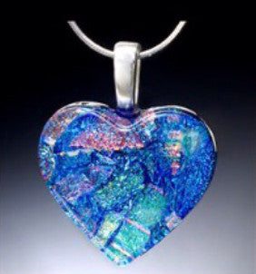Large Heart Pendant w/Silver Chain in 15 Mosaic Colors
