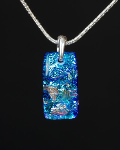 #4 Small Rectangular Pendant w/ Silver Chain in 15 Mosaic Colors