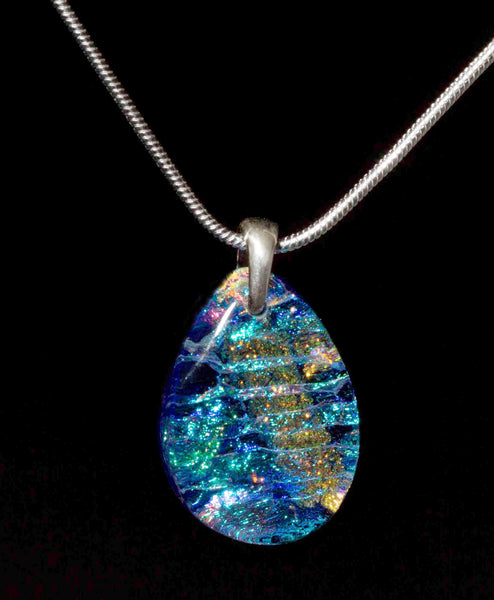 #5 Teardrop Pendant w/ Silver Chain in 15 Mosaic Colors