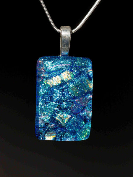 #6 Large Rectangular Pendant w/ Silver Chain in 15 Mosaic Colors