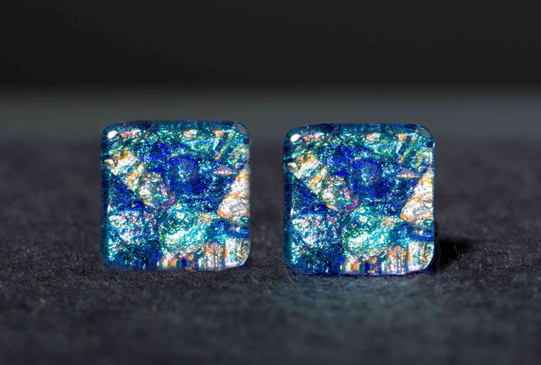 #1 Large Square Post Earrings in 17 Mosaic Colors