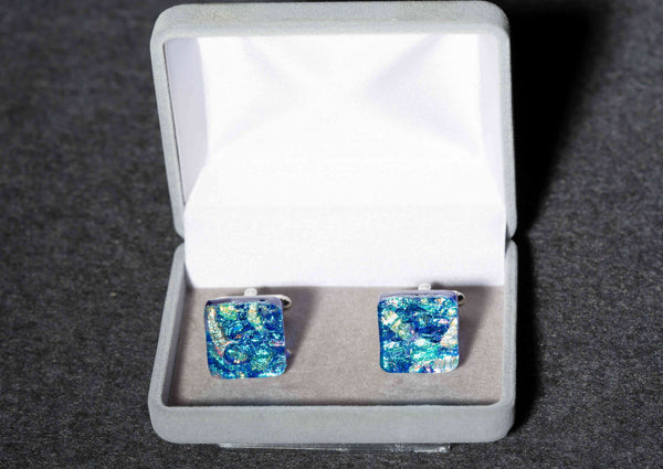 Dichroic Glass Mosaic Cufflinks in 17 Mosaic Colors
