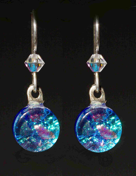 DMD Round Earrings w/ crystal bead earwires in 15 Mosaic Colors