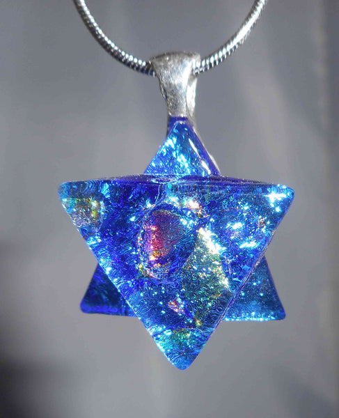 #7 Star of David Necklace w/Silver Chain in 15  Mosaic Colors