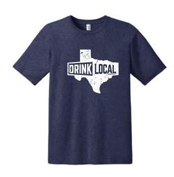 Heather Blue - Drink Local Texas - T-Shirt