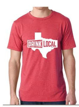 Heather Red - Drink Local Texas - T-Shirt
