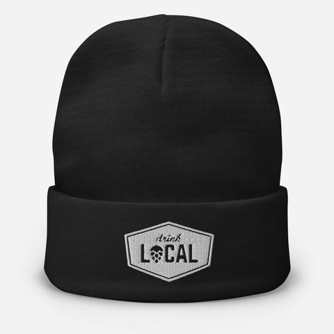 Drink Local Embroidered Beanie Cap