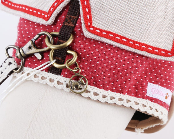 Dotty Berry Red DOG & CAT HARNESS - GLITTER POOCH DOG & CAT HARNESS