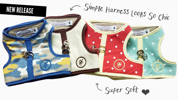 Simply Chic Cotton- Creamy brown DOG & CAT HARNESS - GLITTER POOCH DOG & CAT HARNESS