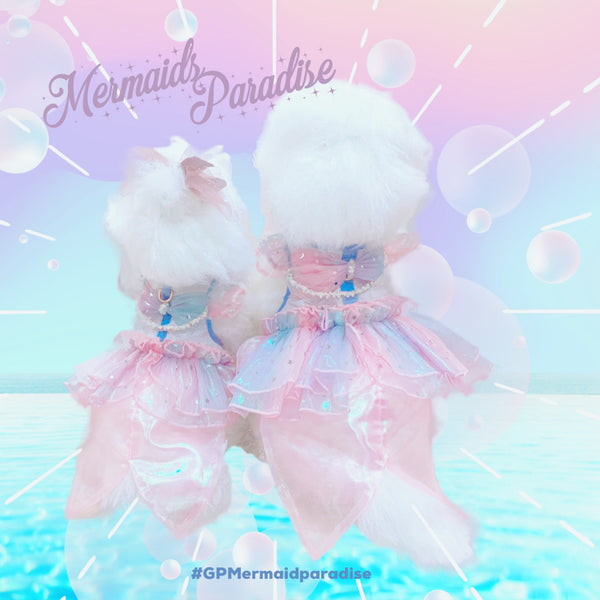 MERMAID PARADISE DOG & CAT HARNESS DRESS - GLITTER POOCH DOG & CAT HARNESS