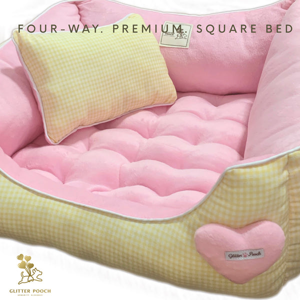 (Yellow Plaid)Four-way premium sofa bed - GLITTER POOCH DOG & CAT HARNESS