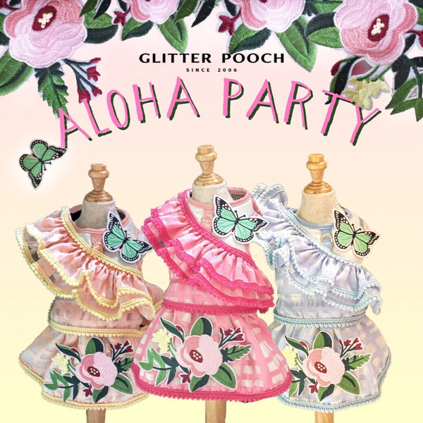 Aloha Party DOG & CAT HARNESS - GLITTER POOCH DOG & CAT HARNESS