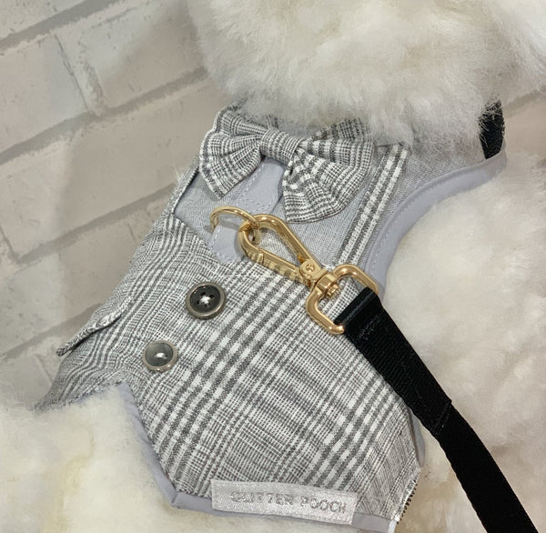 Mr.Gentleman (Gray)  DOG & CAT HARNESS - GLITTER POOCH DOG & CAT HARNESS