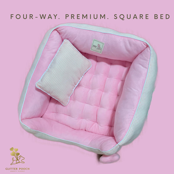 (Pink Plaid)Four-way premium sofa bed - GLITTER POOCH DOG & CAT HARNESS