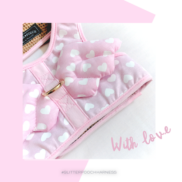 WITH LOVE (Baby Pink)DOG & CAT HARNESS - GLITTER POOCH DOG & CAT HARNESS