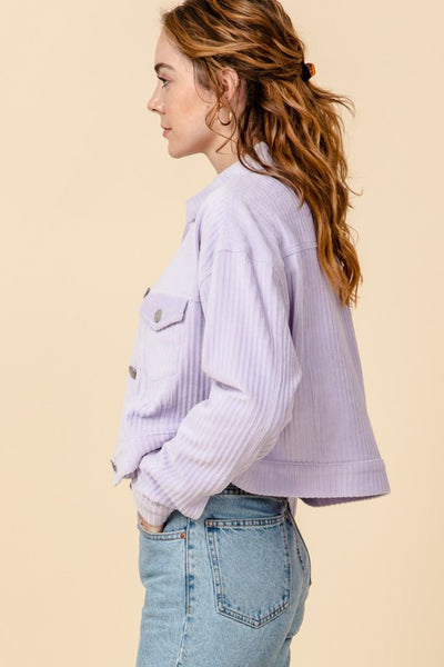 lavender cord cropped light jacket